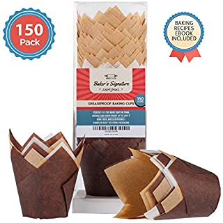Baker's Signature Tulip Baking Paper Cupcake & Muffin Liners Pack of 150 | Greaseproof Wrappers – Will Not Curl or Burn – Comes in Convenient Packaging
