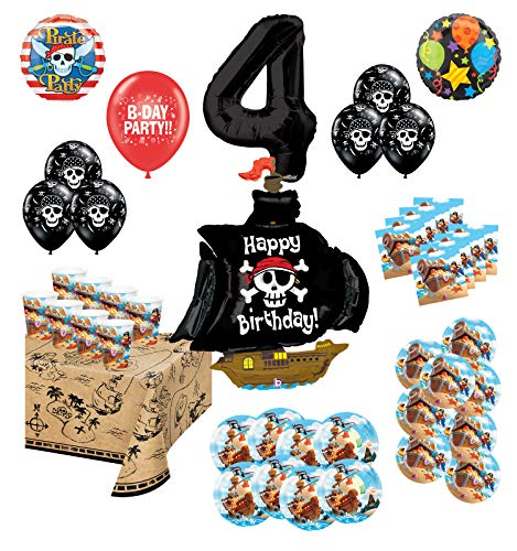 Mayflower Products Pirate Party Supplies 4th Birthday 8 Guest Decoration Kit and Balloon Bouquet (Pirate Balloon Bouquet)