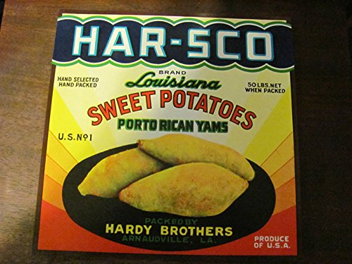 (Hars-Co louisiana yam crate label, vintage, a940s/50s)