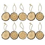 MomeMerry Christmas 10Pcs Wooden Christmas Tree Hanging Ornament Wood Slices DIY Art Craft Gift Tags (Khaki)