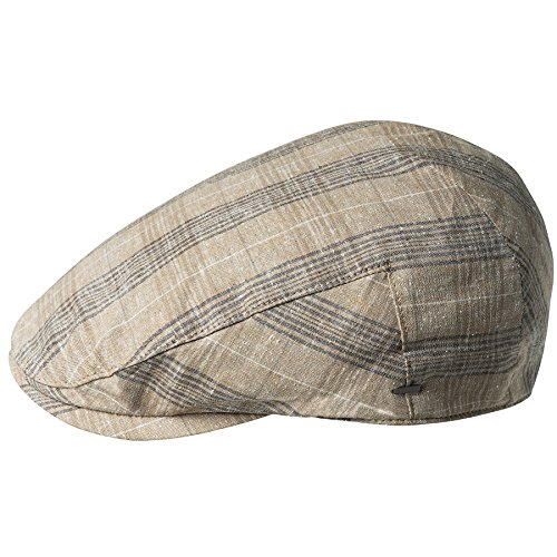 Bailey of Hollywood Men's Chiron Plaid IVY Cap, Tan, (Lined Plaid Ivy Cap)