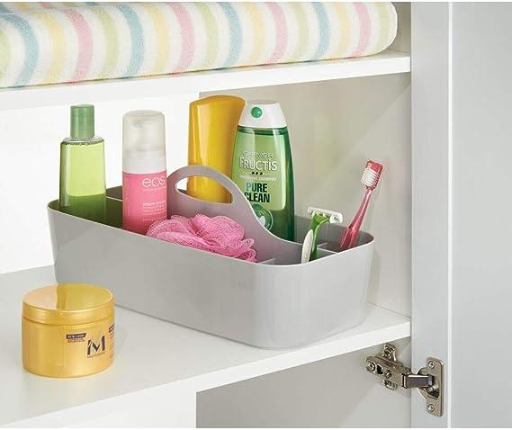 Colore: Grigio Cestino con Manico ergonomico per Shampoo mDesign portaoggetti in plastica bagnoschiuma e Rasoio Porta Oggetti con 11 vani