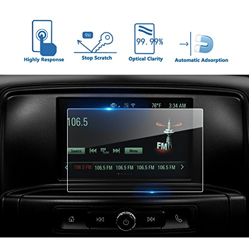 LFOTPP 2016-2017 GMC Sierra 1500 2500HD 3500HD 7 Inch IntelliLink Car Navigation Screen Protector, [9H] Tempered Glass Center Touch Screen Protector Anti Scratch High Clarity (7-Inch)