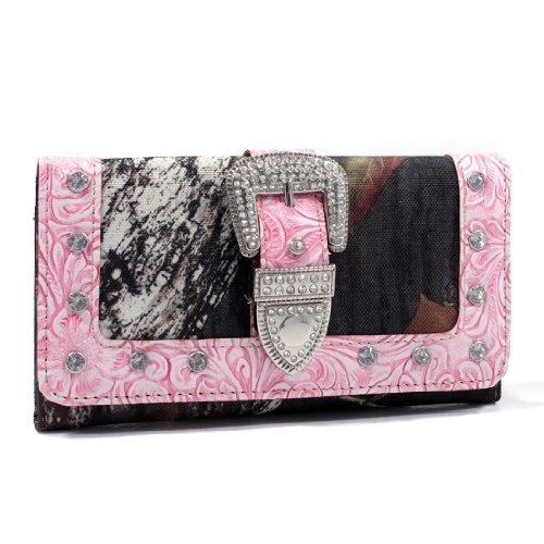 Mossy Oak Camouflage Tri-fold Wallet with Rhinestone Buckle & Floral Trim-Pink