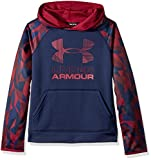 Under Armour Boys' Armour Fleece Printed Big Logo Hoodie, Black Currant /Black Currant, Youth Small