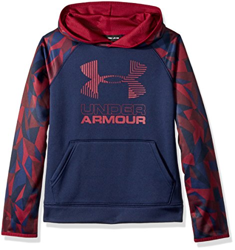 (Under Armour Boys' Armour Fleece Printed Big Logo Hoodie, Black Currant /Black Currant, Youth Small)