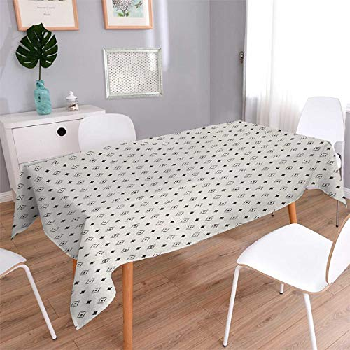Anmaseven Geometric Square Rectangular Tablecloth Old Fashioned Wallpaper Design with Floral Like Geometrical Icons Art Oblong Wrinkle Resistant Tablecloth Charcoal Grey Beige Size: W36 x L36