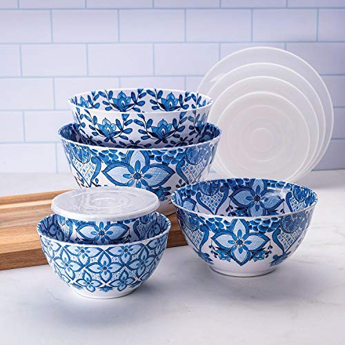 10 Piece Melamine Mixing Bowl Set Blue
