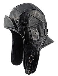 Sterkowski Genuine Leather Men's Aviator Helmet Trapper Cap