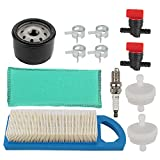 Powtol Mckin 794422 Air Filter + 492932S 492932 Oil Filter + 491055S Spark Plug Tune Up Kit for Briggs and Stratton 797008 697634 697014 698083 394358S 394358 Intek 15.5 and 17-17.5HP Engines