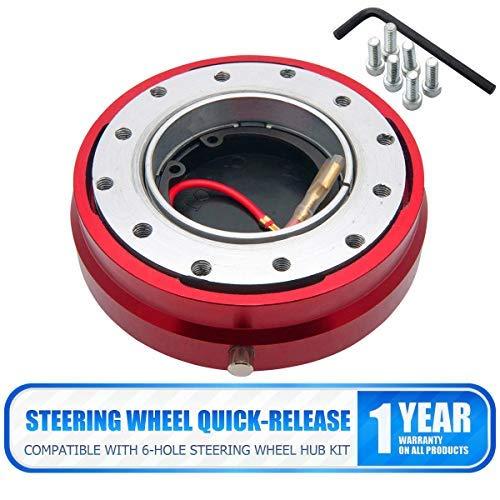 Keenso Steering Wheel Adapter Hub 0.5 inch-Black Aluminum 0.5//1 Inch 6 Hole Car Steering Wheel Hub Adapter Boss Kit