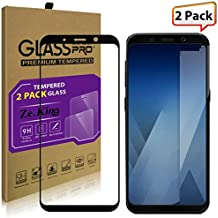 [2-Pack]Samsung Galaxy A5 (2018)/A8 (2018) Tempered Glass Full Screen Protector, ZeKing 0.33mm 2.5D Edge 9H Hardness [Anti Scratch][Anti-Fingerprint] Bubble Free, Lifetime Replacement Warranty
