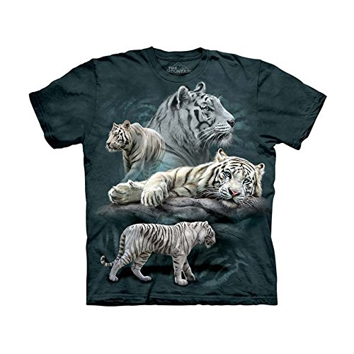 (The Mountain White Tiger Col Child T-Shirt, Blue and Green, Small)