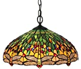 Amora Lighting AM1027HL18 Tiffany Style Dragonfly Pendant Lamp 18-Inch