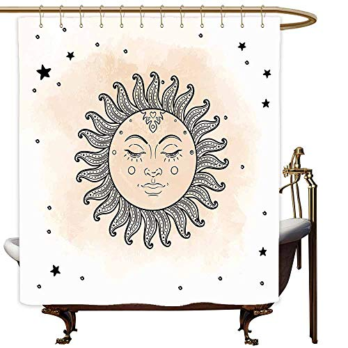 Shower Curtains for Bathroom Sets with Accessories Sun,Hand Drawn Stars Dots Pattern Vintage Oriental Elements Astral Ornamental Design,Tan Black White,W69 x L90,Shower Curtain for Girls
