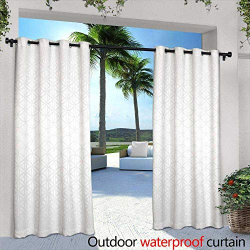 Lightly Exterior/Outside Curtains,Abstract Polygonal Geometric Facet Shiny White, Grey and Silver Background Wallpaper Illustration,W96 x L84 for Front Porch Covered Patio Gazebo Dock Beach Home