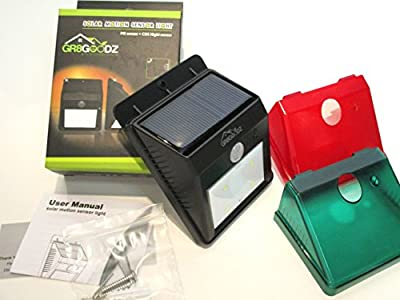 GR8 Goodz Holiday LED Motion Sensor Solar Lights with Removable Red and Green Christmas Color Covers, Weatherproof, Wireless Exterior Security Lighting, Automatic Dusk to Dawn Sensing: Patio, Deck, Garden, Home, Driveway, Stairs, Entryway, Paths.