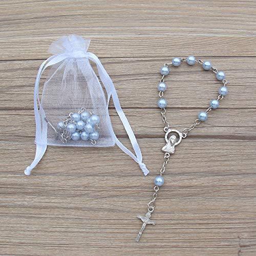 Acrylic Mini Rosary Favor for Boy Blue (24 PCS) - Baptism Communion Recuerditos De Bautismo Christening, Decenarios,