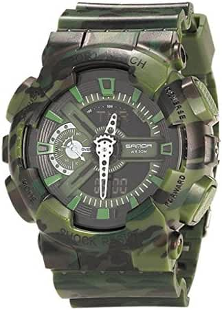 Boys Girls Teens Multifunction Camo Double Display Luminous Digital Military Shockproof Waterproof Outdoor Sports Watch