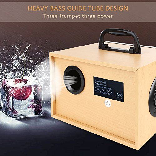 Desktop Wooden Bluetooth Speaker 10w Powerful Wireless Stereo Subwoofer Loudspeakers Music Player Support Digital Display Remote Control FM Radio TF Card USB AUX Speakers for Home Party for Phone by TOMPROAD (Image #4)