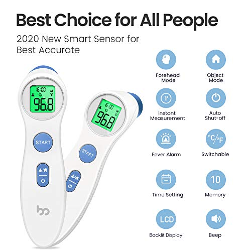 Touchless Forehead Thermometer for Adults, Kids and Babies, Digital Infrared Medical Non Contact Thermometer with Fever Indicator, Professional Forehead Thermometer 1s Instant Accurate Reading