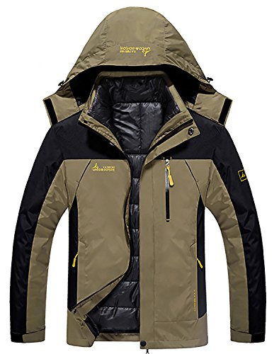 HENGJIA Mens 3-In-1 Outdoor Coats Waterproof Hooded Jacket With Detachable Cotton Liner Khaki US 2XL (Asian Tag 5XL) (Jacket Detachable Liner)