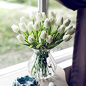 Amzali Artificial Flowers Real Touch Mini PU Tulips Bouquet Fake Tulips Flowers Arrangement Artificial Plants for Wedding Centerpiece Room Home Hotel Party Event Christmas Decor Cream White Set of 30 43
