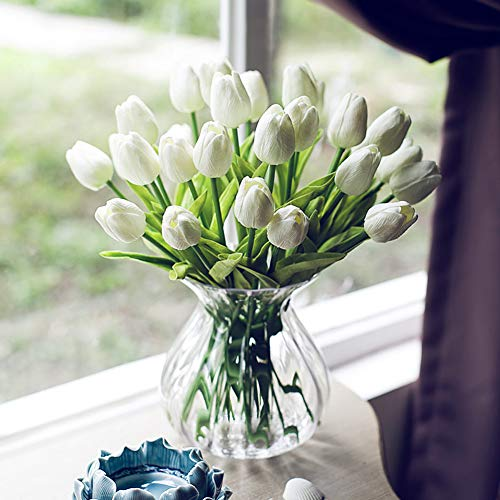 Amzali Artificial Flowers Real Touch Mini PU Tulips Bouquet Fake Tulips Flowers Arrangement Artificial Plants for Wedding Centerpiece Room Home Hotel Party Event Christmas Decor Cream White Set of 10 ()