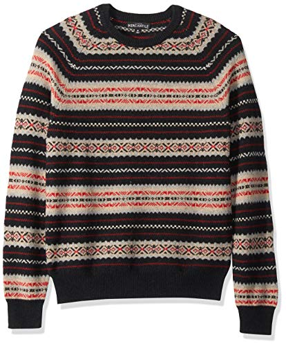 J.Crew Mercantile Men's Fair Isle Lambswool-Nylon Crewneck Sweater, Navy, M