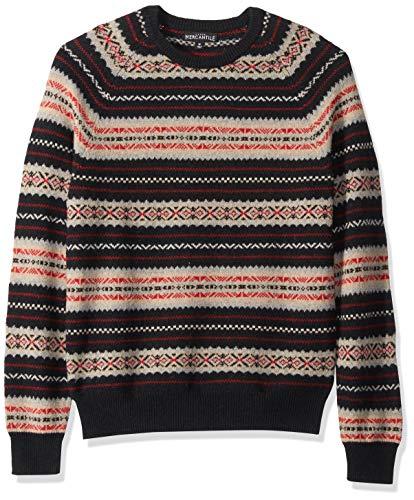 (J.Crew Mercantile Men's Fair Isle Lambswool-Nylon Crewneck Sweater, Navy, M)