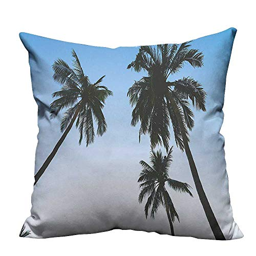 YouXianHome Decorative Throw Pillow Case Vintage Filtered Upward Coconut Trees Photo Angeles Island Beach Theme Green Blue Ideal Decoration(Double-Sided Printing) 20x20 inch -