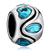 Pugster Blue Swarovski Elements Crystal Heart Charm Lover Bead Fit Pandora Charms Bracelet