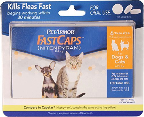 PetArmor FastCaps (nitenpyram) Oral Flea Treatment Medication, 2-25 lbs, 6 count
