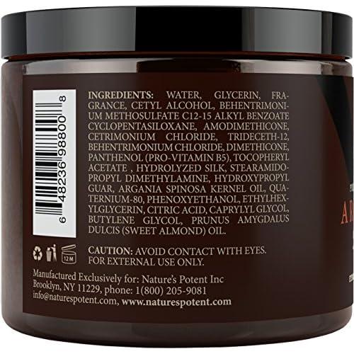 Argan Oil Hair Mask, 100% ORGANIC Argan & Almond Oils - Deep Conditioner Hair Treatment Therapy, Repair Dry, Damaged, Color Treated & Bleached Hair - Hydrates & Stimulates Hair Growth, 8 Oz