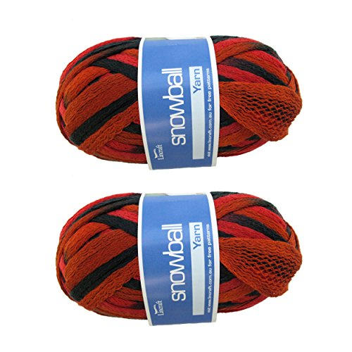 BambooMN Brand - 2 Skeins - Fishnet, Ruffle Fancy Scarf Yarn - 200g (60m), 100% Acrylic Yarn - Red Black