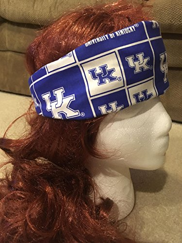 Handmade University of Kentucky Headband, Reversible 2-in-1 Cotton Sweatband Active Wear for Indoor/Outdoor Sports, Blue & White Striped Reverse Side, One Size Fits Most (Made in Kentucky)