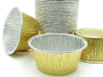 Dorado de aluminio desechables 4 oz tazas de hornear/moldes de cocina (# 1110nl 4 oz dorado: Amazon.es: Hogar