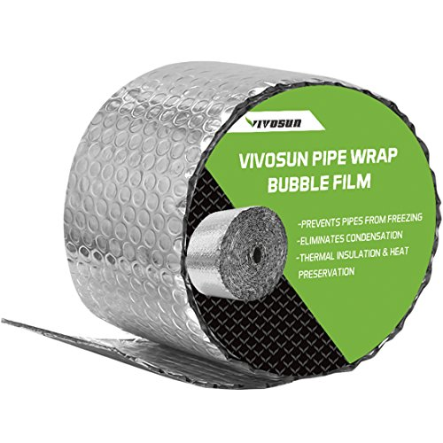 VIVOSUN Insulated Spiral Pipe Wrap Insulation Bubble Film 6-Inch by 25-Feet ()
