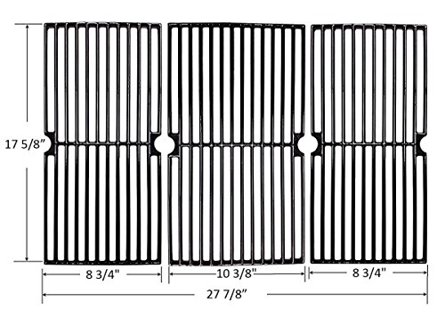 Bar.b.q.s CI67233 Porcelain Cast Iron Cooking Grid Grate Replacement for Brinkmann, Charbroil and Charmglow and other Grills, Set of 2 (Cast Porcelain Iron Grates)