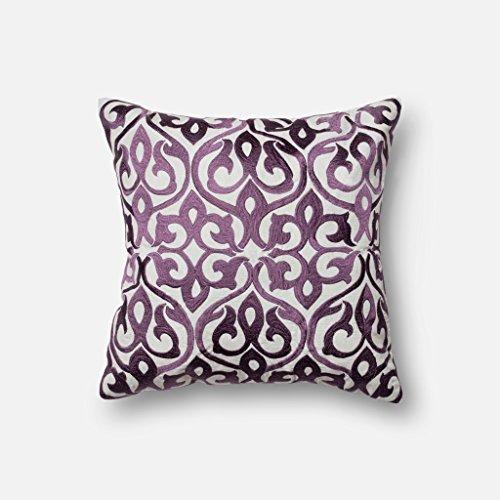 - Loloi P0004 100% Rayon Silk Pillow Cover, Grey/Plum