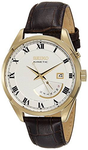 - Seiko Kinetic SRN074 White Dial Brown Leather Band Men's Watch by Seiko Watches