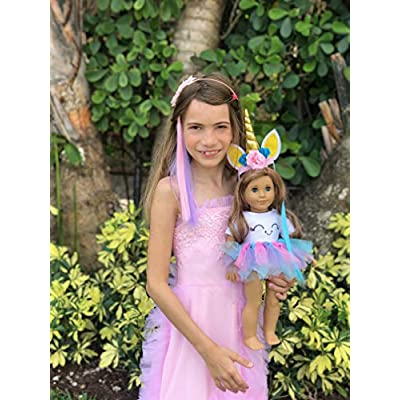 MY GENIUS DOLLS Unicorn Clothes, Headband, Tutu, Matching Color Hair Wig Extension -fits All 18 inch Dolls Like American Girl, Our Generation My Life Gotz |Accessories, Outfits| Doll NOT Included…: Toys & Games