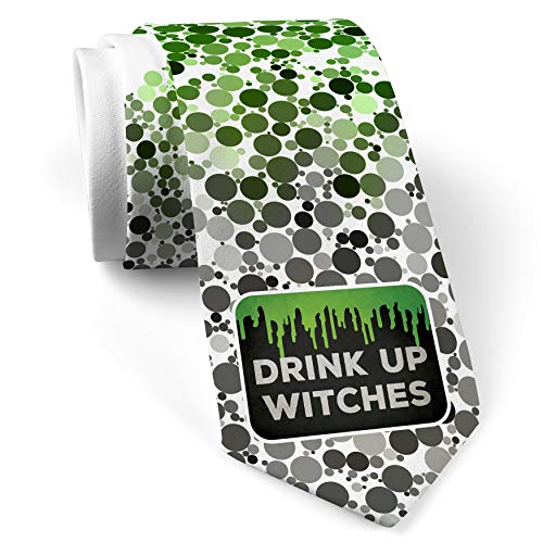 Neck Tie with Drink Up Witches Halloween Green Slime White with Color -