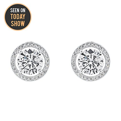 Cate & Chloe Ariel 18k White Gold Halo CZ Stud Earrings, Silver Simulated Diamond Earrings, Round Cut Earring Studs, Best Gift Ideas for Women, Girls, Ladies, Special-Occasion Jewelry - msrp (Jean Jacket Costume Ideas)
