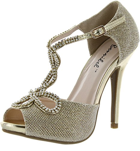 Heel Gold Evening Prom Shoes (Bonnibel Womens Tiara-2 Stiletto Heel Glitter Evening Wedding Promo Sandals Shoes,Gold,7.5)