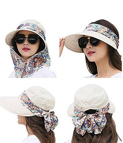 d71356dd Lanzom Women Lady Wide Brim Cap Visor Hats UV Protection Summer Sun Hats  (White)