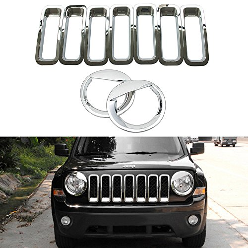 AVOMAR Front Grille Grill Mesh Grille Insert Kit + Angry Bird Style Headlight Lamp Cover Trim For Jeep Patriot 2011-2016 (Silver Front Grill Mesh + Angry Bird Headlight Cover-1)