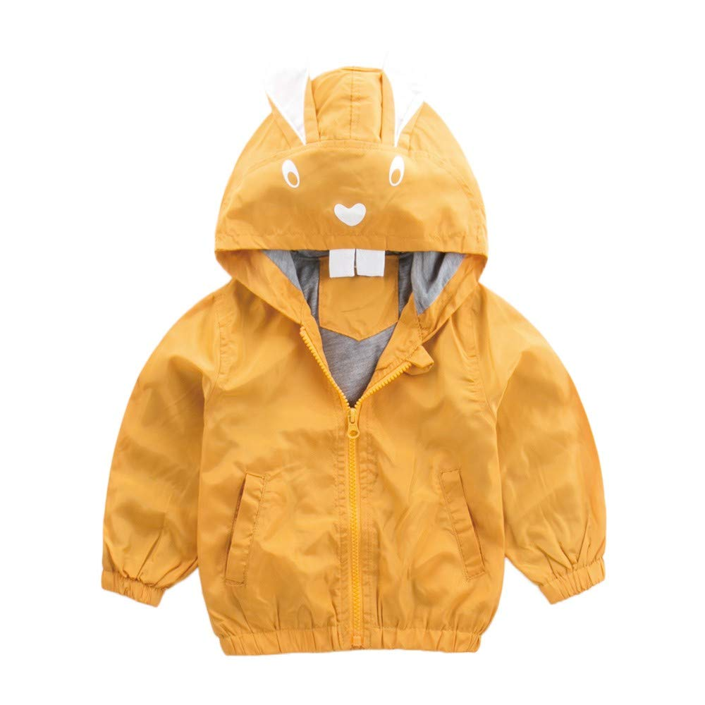 Tronet Kids Boys Girls Coat, Autumn Winter Fashion Rabbit Hoodie Jacket Outerwear Clothes (Yellow, 130(Age:4-5Years))