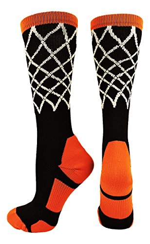 Basketball Net Crew Socks (Black/Orange, Medium)