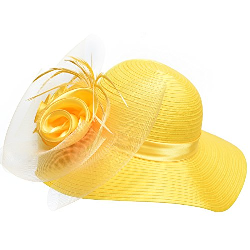 Lawliet Women Satin CRIN Kentucky Derby Wide Brim Sun Hat A433 (Yellow)